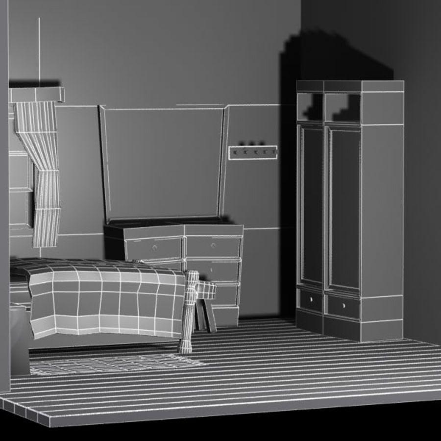 Çizgi film yatak odası iç royalty-free 3d model - Preview no. 9