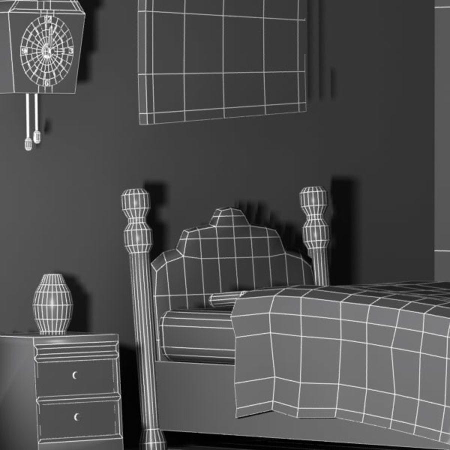 Çizgi film yatak odası iç royalty-free 3d model - Preview no. 11