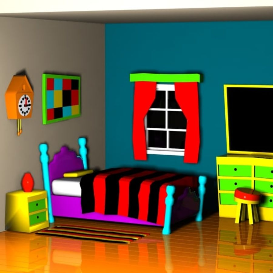Çizgi film yatak odası iç royalty-free 3d model - Preview no. 1