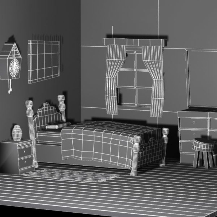 Çizgi film yatak odası iç royalty-free 3d model - Preview no. 7