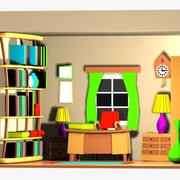 Cartoon Office Room Interior 3d model