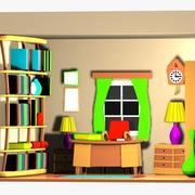 Cartoon Office Room Interior 3d model