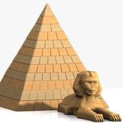 卡通金字塔和狮身人面像 3d model