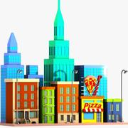 Cartoon stad straat 3d model
