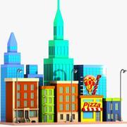 Calle de la ciudad de dibujos animados modelo 3d