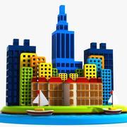 Cartoon City Island 3d model