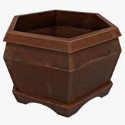 Wood Pot Hexagon 3d model