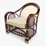 户外藤制扶手椅 3d model