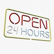Öppet 24 timmar neontecken 3d model