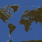 Mapa-múndi de alta resolução com fronteiras 3d model