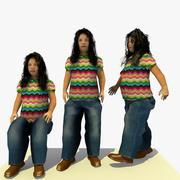 低ポリアフリカ女性Dバンドル 3d model
