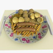 Food Dish with Omlet, Chips, Sausages, Cheese, Potatoes & Lettuce 3d model