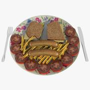 Sandwiches and Chips 3d model