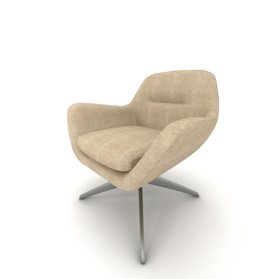 Beige Fabric Armchair royalty-free 3d model - Preview no. 6