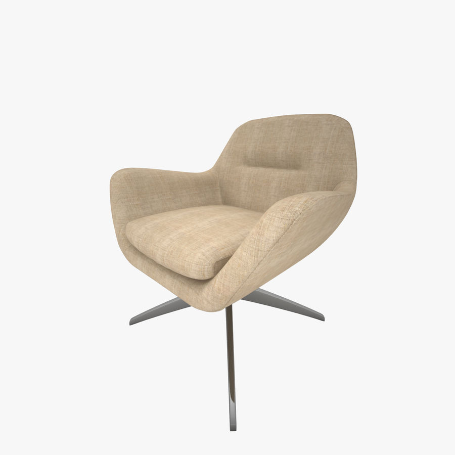 Beige Fabric Armchair royalty-free 3d model - Preview no. 1