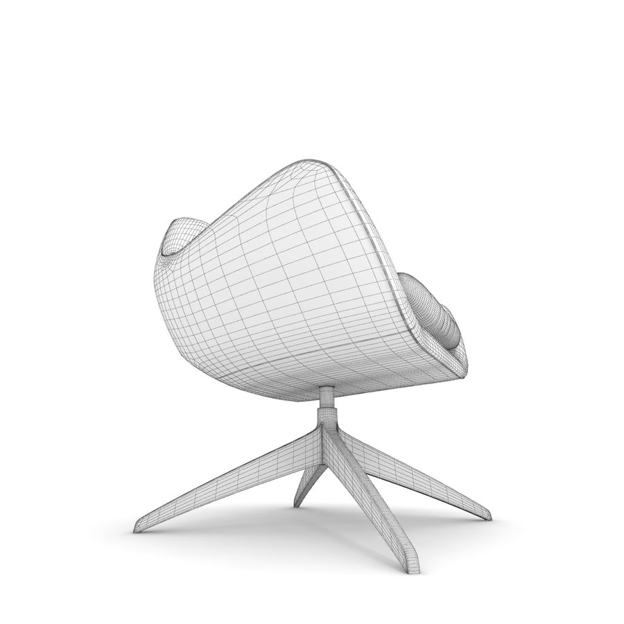 Beige Fabric Armchair royalty-free 3d model - Preview no. 8