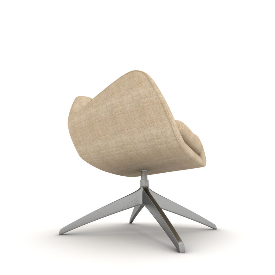 Beige Fabric Armchair royalty-free 3d model - Preview no. 4