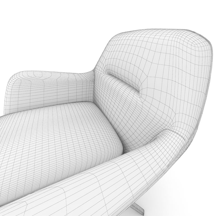 Beige Fabric Armchair royalty-free 3d model - Preview no. 9