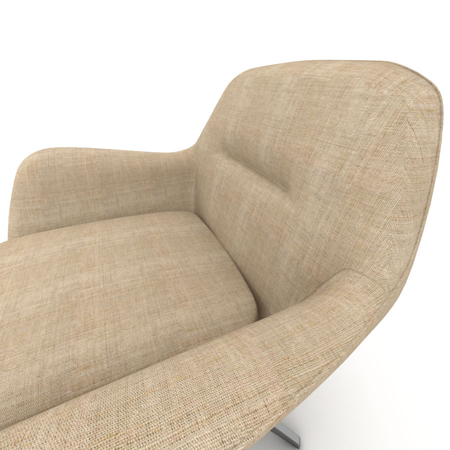 Beige Fabric Armchair royalty-free 3d model - Preview no. 5