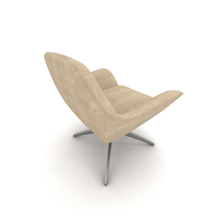 Beige Fabric Armchair royalty-free 3d model - Preview no. 3