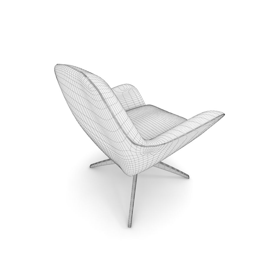 Beige Fabric Armchair royalty-free 3d model - Preview no. 7