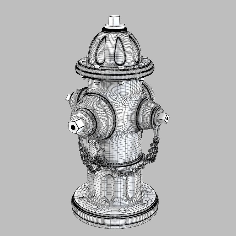 Feuerhydrant royalty-free 3d model - Preview no. 7