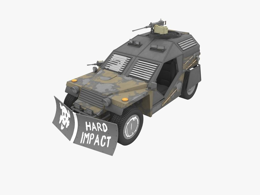 Armored Post-apocalyptic Buggy royalty-free 3d model - Preview no. 5