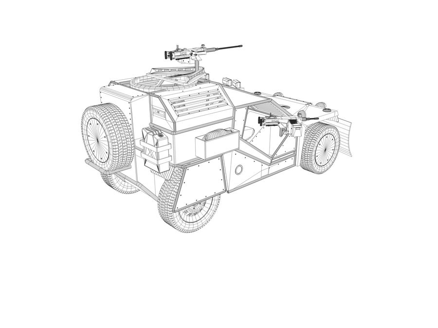 Armored Post-apocalyptic Buggy royalty-free 3d model - Preview no. 9