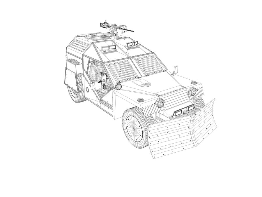 Armored Post-apocalyptic Buggy royalty-free 3d model - Preview no. 8
