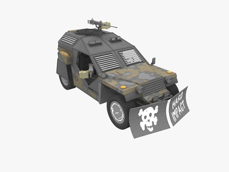 Armored Post-apocalyptic Buggy royalty-free 3d model - Preview no. 2