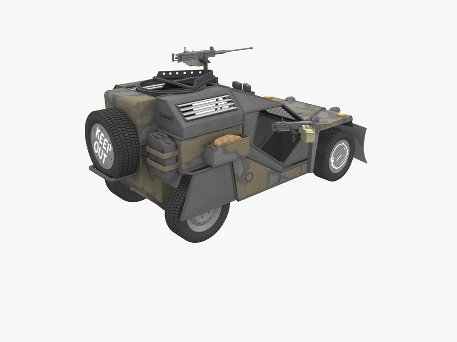 Armored Post-apocalyptic Buggy royalty-free 3d model - Preview no. 3