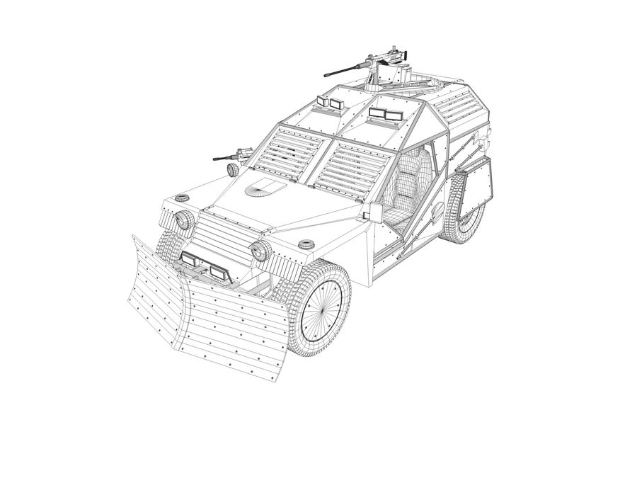 Armored Post-apocalyptic Buggy royalty-free 3d model - Preview no. 11