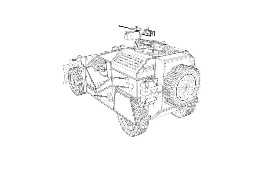 Armored Post-apocalyptic Buggy royalty-free 3d model - Preview no. 10