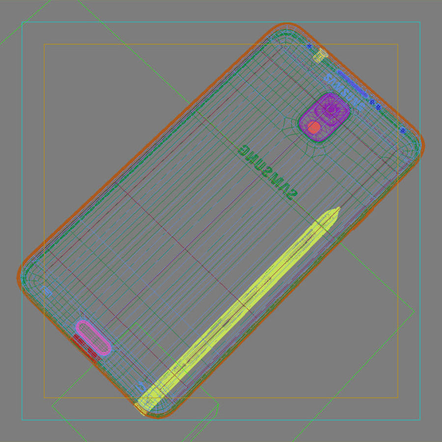 Samsung Galaxy Note 3 Pink royalty-free 3d model - Preview no. 44
