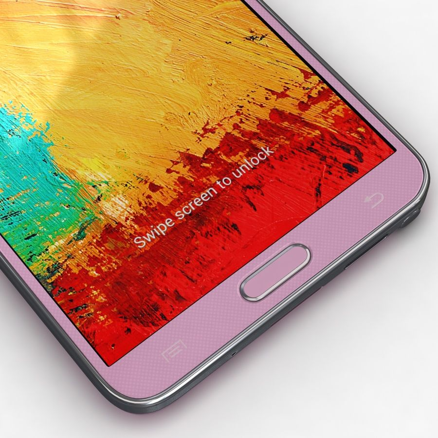 Samsung Galaxy Note 3 Pink royalty-free 3d model - Preview no. 9