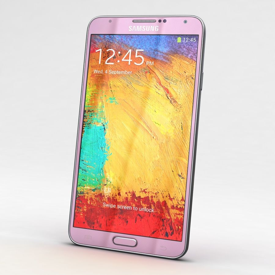 Samsung Galaxy Note 3 Pink royalty-free 3d model - Preview no. 3