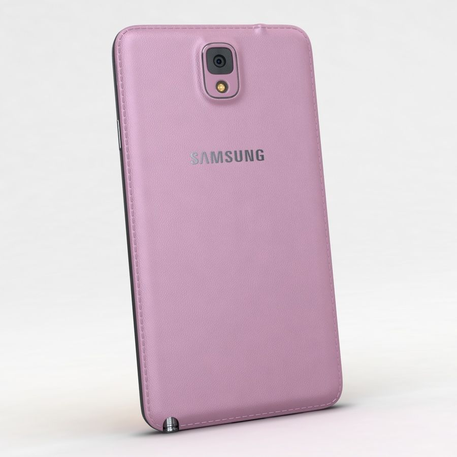 Samsung Galaxy Note 3 Pink royalty-free 3d model - Preview no. 6
