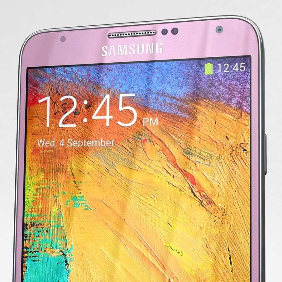 Samsung Galaxy Note 3 Pink royalty-free 3d model - Preview no. 26