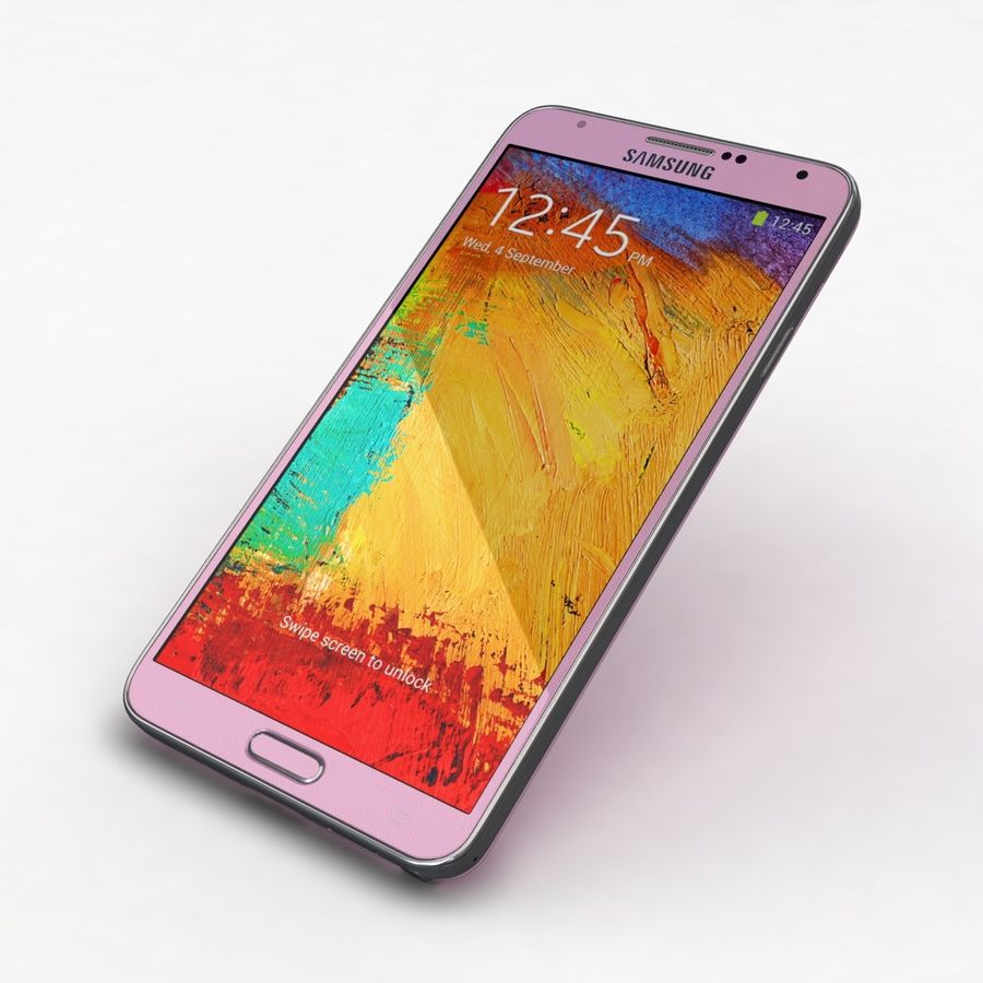 Samsung Galaxy Note 3 Pink royalty-free 3d model - Preview no. 23