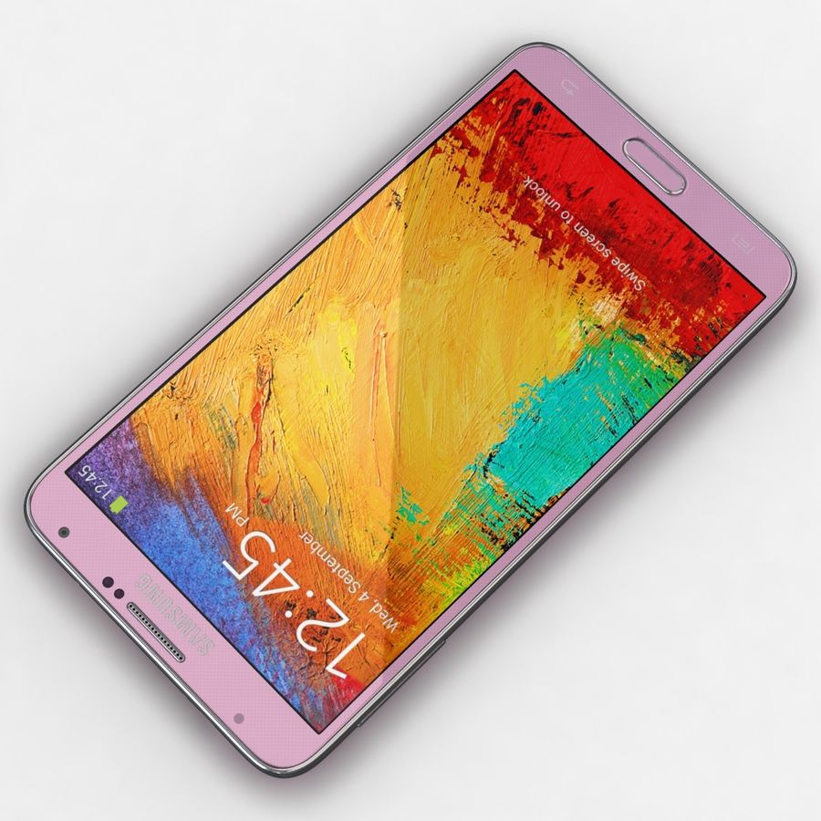 Samsung Galaxy Note 3 Pink royalty-free 3d model - Preview no. 8