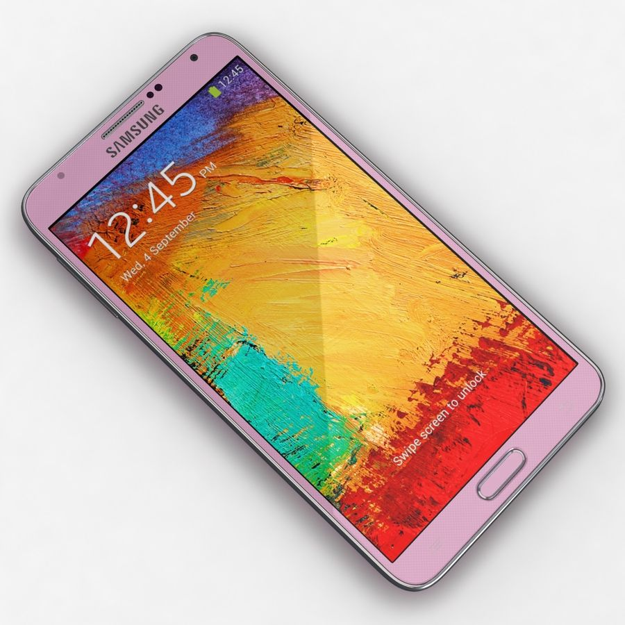 Samsung Galaxy Note 3 Pink royalty-free 3d model - Preview no. 7