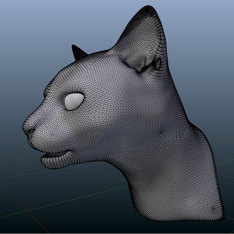 HEAD CAT royalty-free 3d model - Preview no. 7