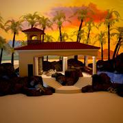 Tropical Cabana Pool 3d model