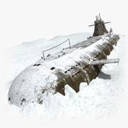 Submarine In Snow 3d model