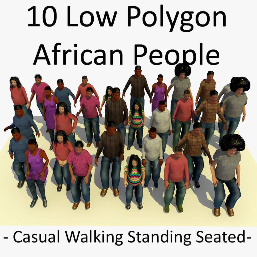 African African People Bundle royalty-free 3d model - Preview no. 1