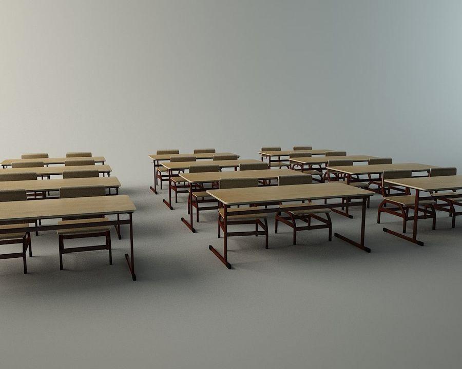 Banco di scuola royalty-free 3d model - Preview no. 5