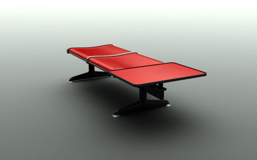 Ławka lotniskowa (podwójna ze stołem) royalty-free 3d model - Preview no. 3