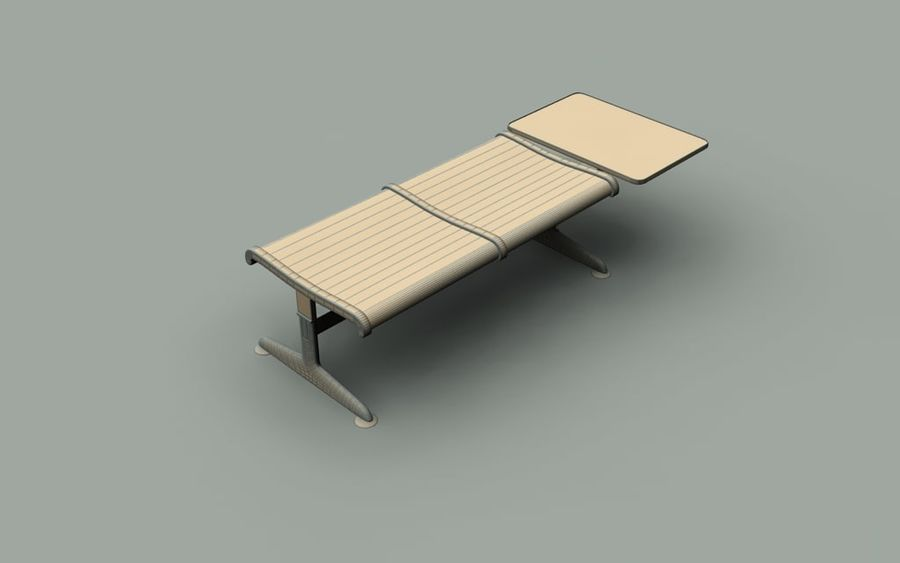 Ławka lotniskowa (podwójna ze stołem) royalty-free 3d model - Preview no. 5