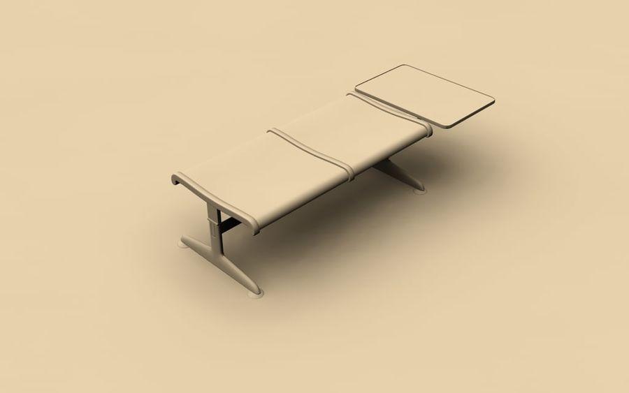 Ławka lotniskowa (podwójna ze stołem) royalty-free 3d model - Preview no. 4