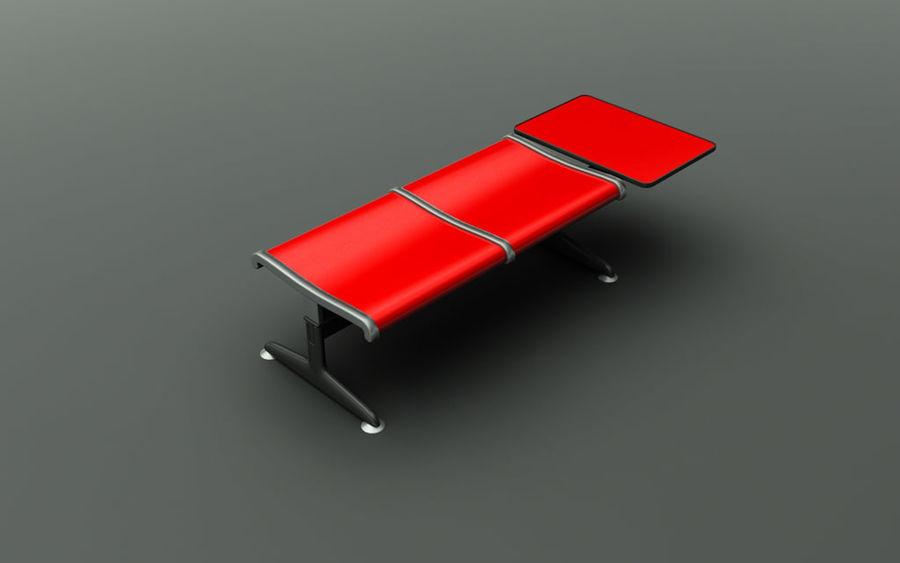 Ławka lotniskowa (podwójna ze stołem) royalty-free 3d model - Preview no. 1